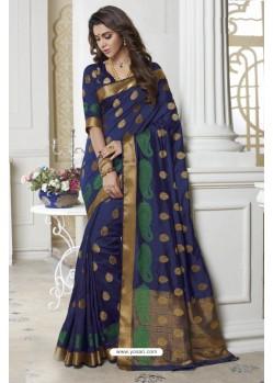 Decent Blue Raw Silk Saree