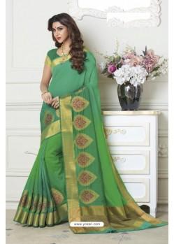 Lustrous Green Raw Silk Saree