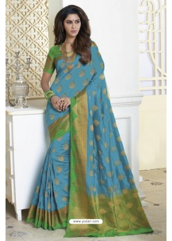 Competent Turquoise Raw Silk Saree