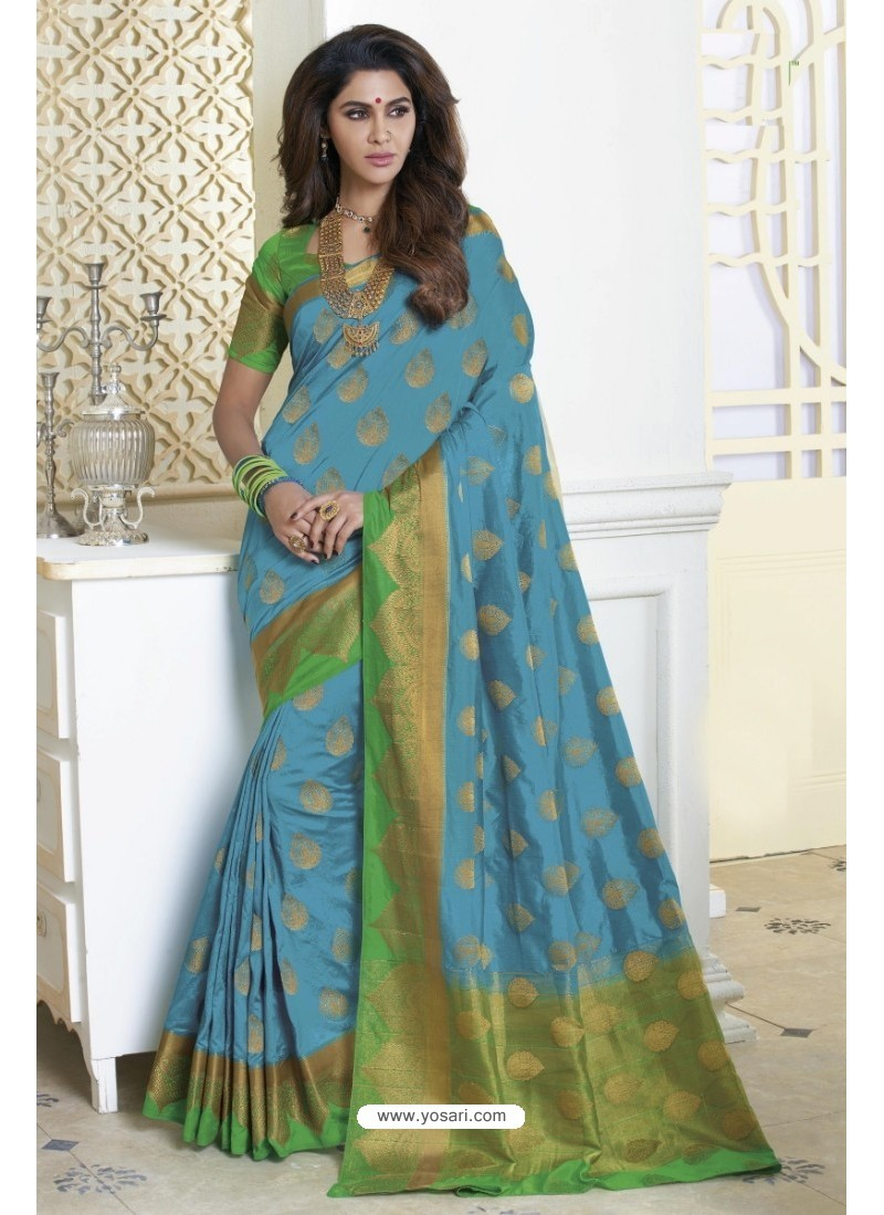 Competent Turquoise Raw Silk Saree