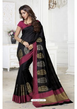 Incredible Black Raw Silk Saree