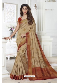 Magnificent Beige Raw Silk Saree