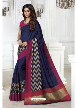Markable Navy Blue Raw Silk Saree