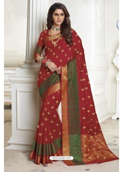 Glowing Wine Raw Silk Saree