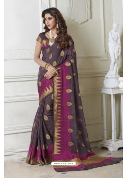 Radiant Grey Raw Silk Saree