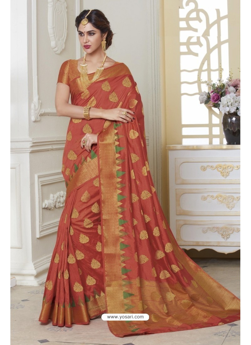 Exceptional Rust Raw Silk Saree