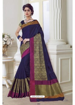 Deserving Navy Blue Raw Silk Saree