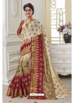 Delightful Off White Raw Silk Saree