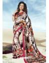 Spectacular Multi Colour Crepe Printed Saree