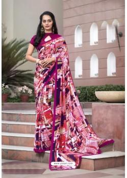Stupendous Multi Colour Crepe Printed Saree
