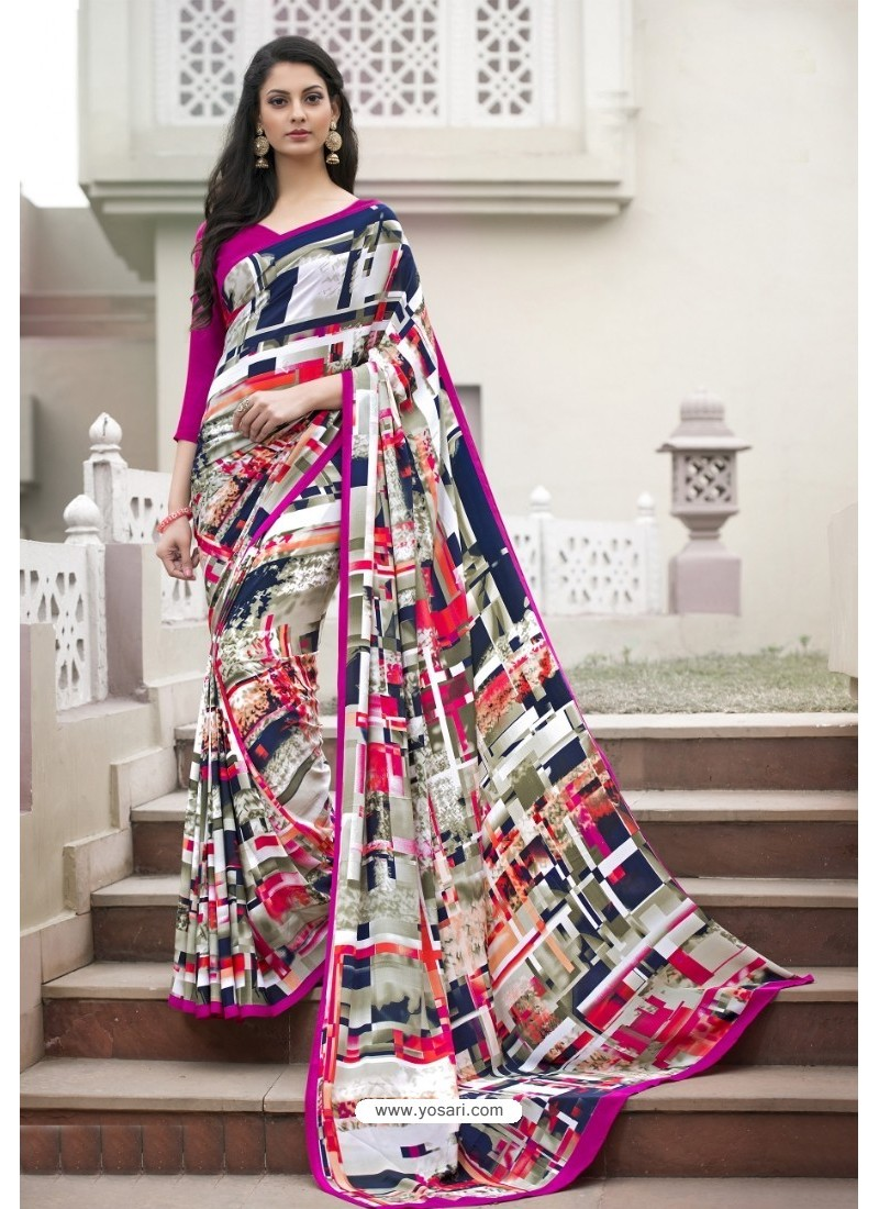 Extraordinary Multi Colour Crepe Printed Saree