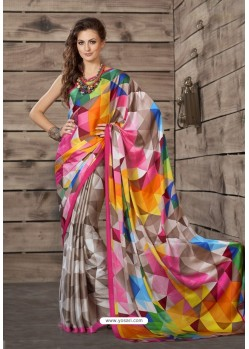 Unbelievable Multi Colour Crepe Printed Saree