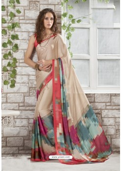 Wonderful Beige Crepe Printed Saree