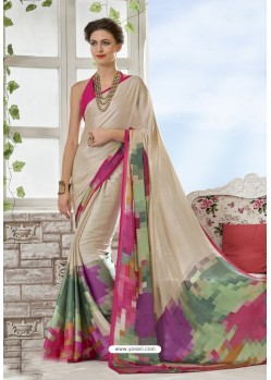 Mind Blowing Beige Crepe Printed Saree