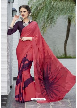 Attractive Wine Crepe Printed Saree