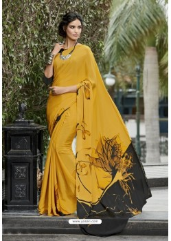Pretty Yellow Crepe Printed Saree