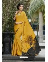 Pretty Yellow Crepe Printed Saree