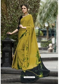 Nice Looking Mehendi Crepe Printed Saree