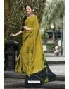 Nice Looking Mehendi Crepe Printed Saree