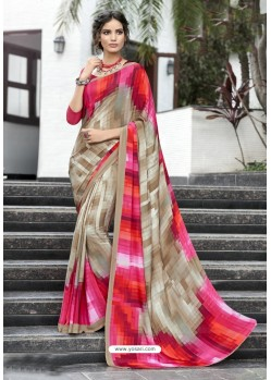 Pleasing Multi Colour Crepe Printed Saree