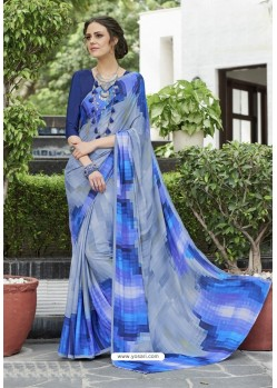 Enhanting Blue Crepe Printed Saree