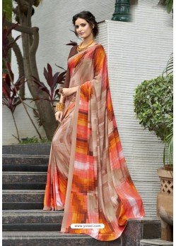 Glamorous Multi Colour Crepe Printed Saree
