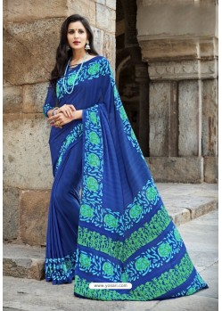 Graceful Blue Crepe Printed Saree