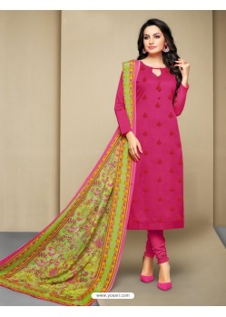 Fantastic Fuchsia Cotton Embroidered Suit