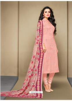 Beautiful Baby Pink Cotton Embroidered Suit