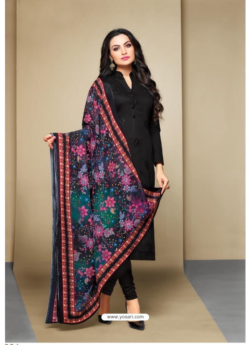 Beauteous Black Cotton Embroidered Suit
