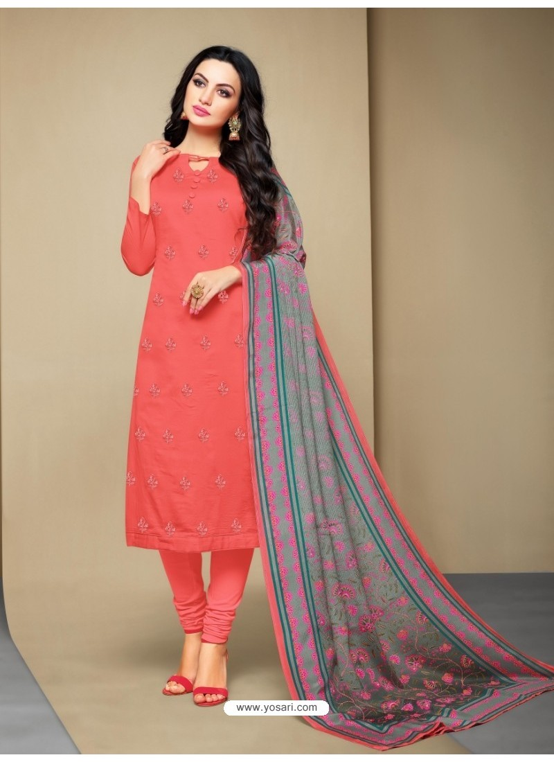 Eye Catching Peach Cotton Embroidered Suit