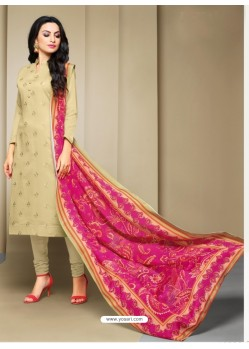 Perfect Taupe Cotton Embroidered Suit