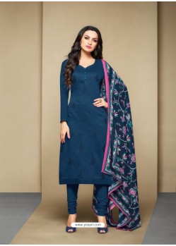 Observable Peacock Blue Cotton Embroidered Suit