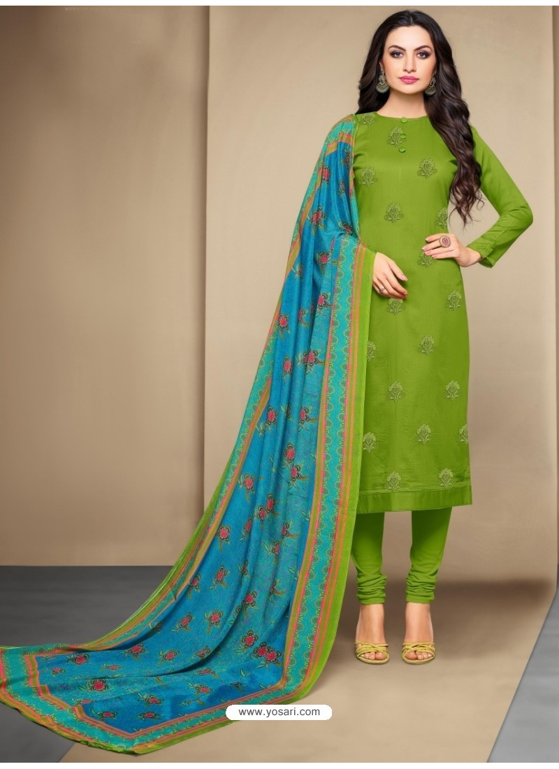 Excellent Green Cotton Embroidered Suit