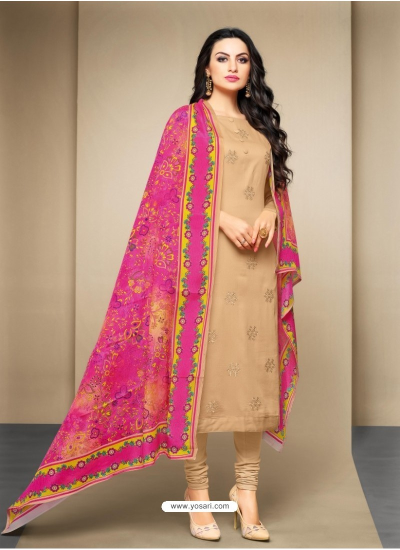 Desirable Beige Cotton Embroidered Suit