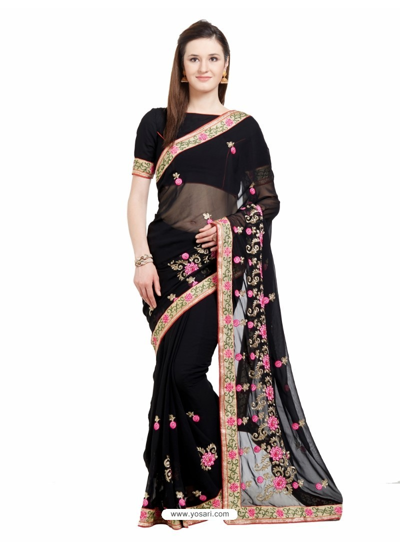 Sensational Black Georgette Saree