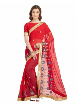 Incredible Red Marble Chiffon Saree