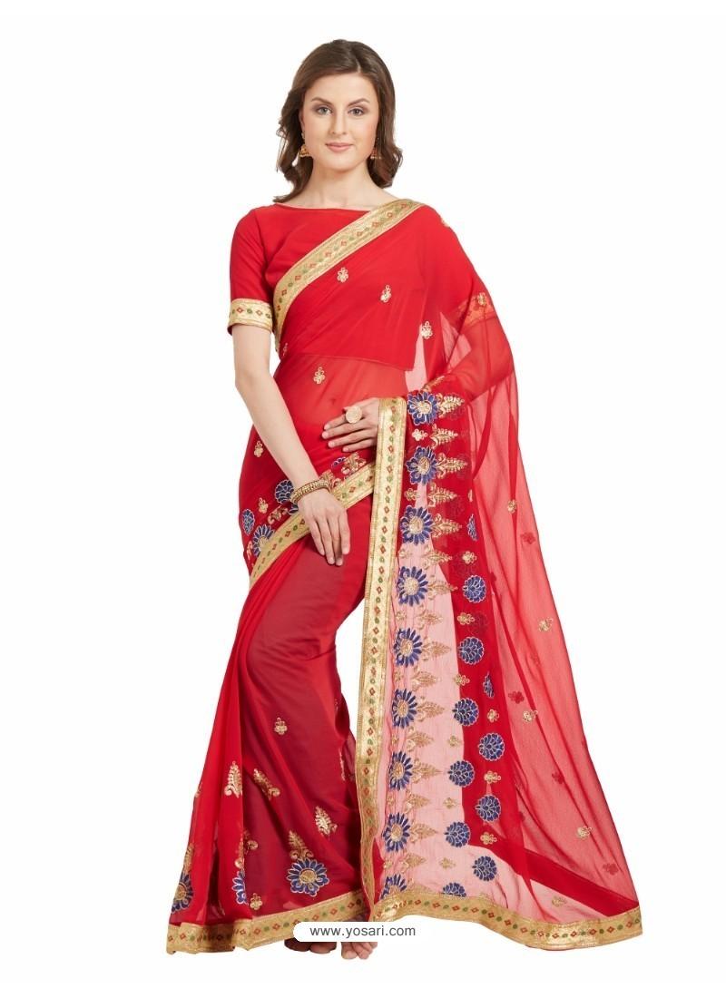 Incredible Red Marble Chiffon Saree