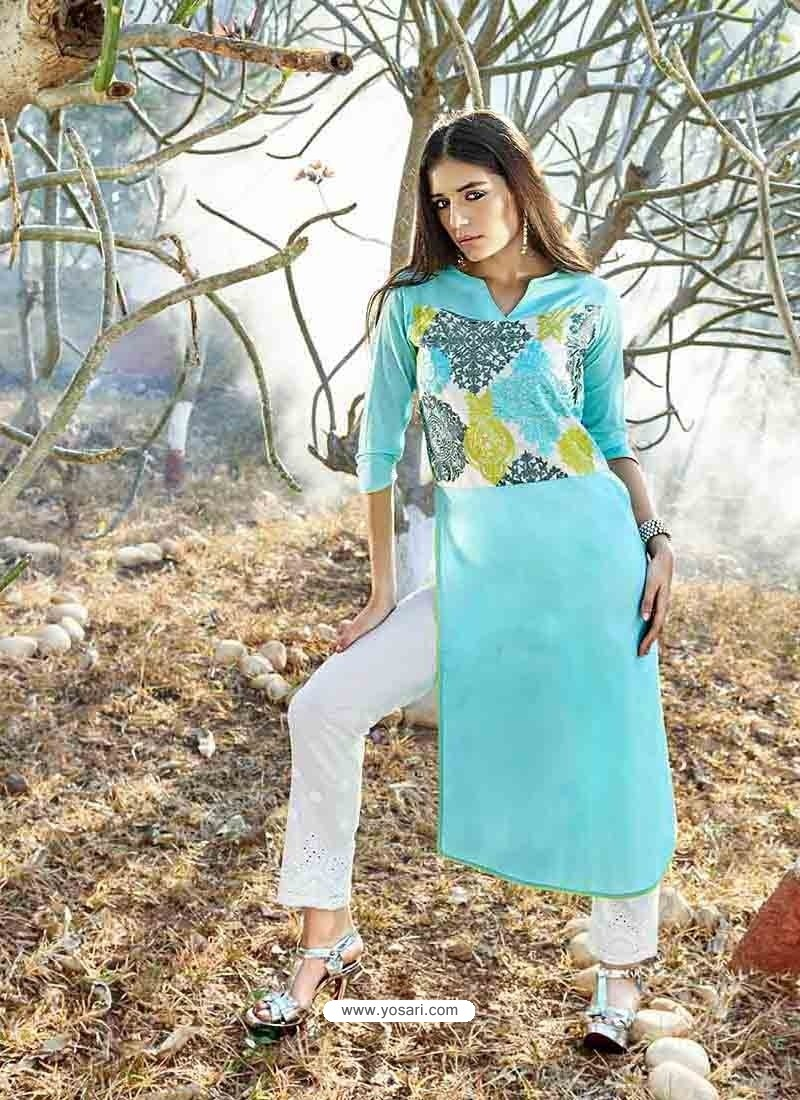 Sky Blue Color Printed Kurti