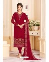 Wine Faux Georgette Embroidered Suit