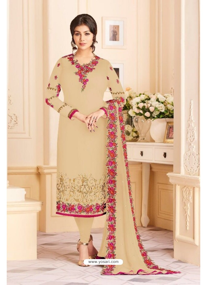 Beige Faux Georgette Embroidered Suit