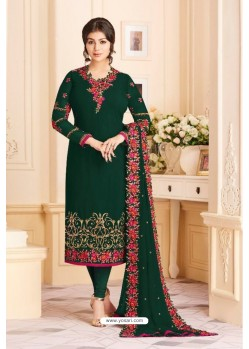 Green Faux Georgette Embroidered Suit