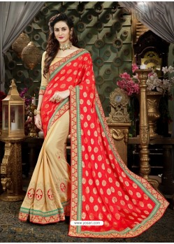 Glowing Red Art Silk Embroidered Saree