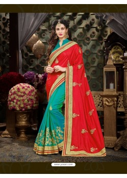 Fashionistic Red Art Silk Embroidered Saree