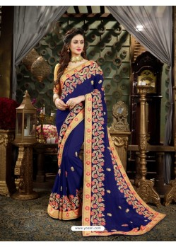 Desirable Blue Georgette Embroidered Saree