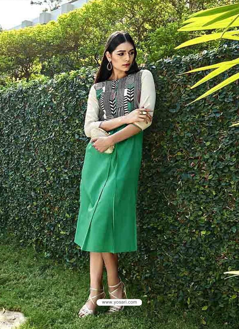 Green Color Printed Kurti