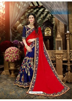 Phenomenal Blue Georgette Embroidered Saree
