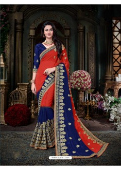 Splendid Red Georgette Embroidered Saree