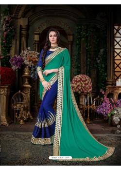 Amazing Blue Georgette Embroidered Saree
