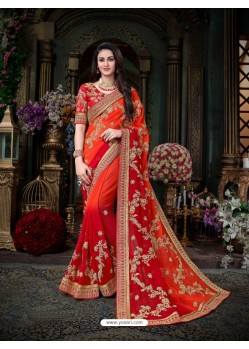 Glorious Red Georgette Embroidered Saree